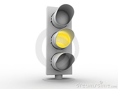 3d white traffic light with a yellow light