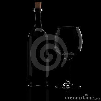 Free 3d Wine Bottle And Glass Royalty Free Stock Images - 15344849