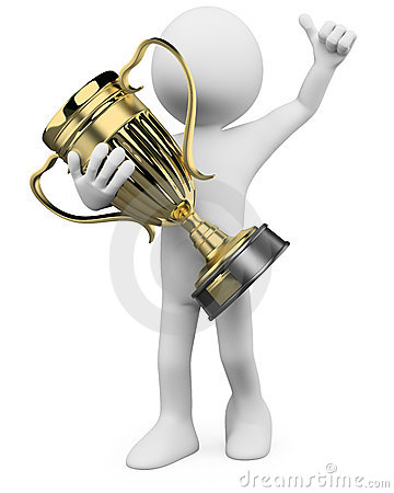 Free 3D Winner With A Gold Trophy In The Hands Stock Image - 23290721