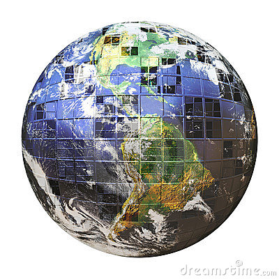 Free 3D Wire Frame Earth Sphere Stock Image - 18389701
