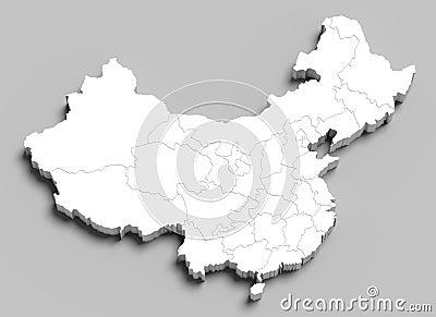3d witte kaart van China op grijs