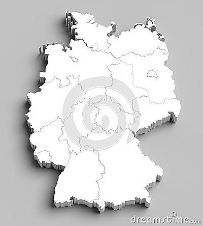 3D witte kaart van Duitsland op grijs