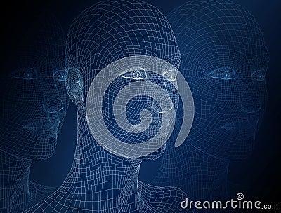 3d women head.