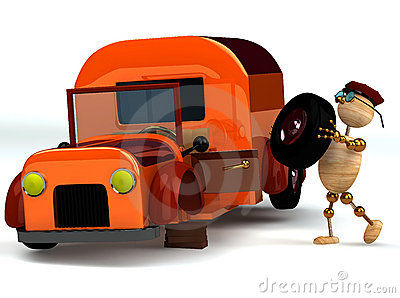 3d wood man change orange truck tire