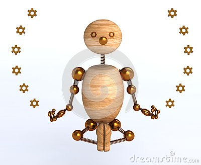 3d wood man meditation