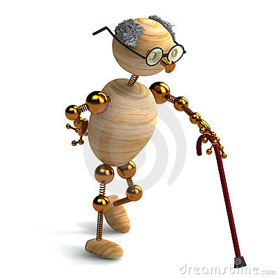 3d wood man old with walking stick