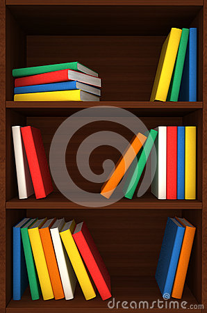 Free 3d Wooden Shelves Background With Books Royalty Free Stock Image - 25952496