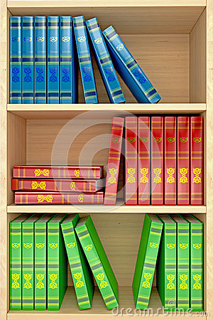 Free 3d Wooden Shelves Background With Books Royalty Free Stock Image - 26045756