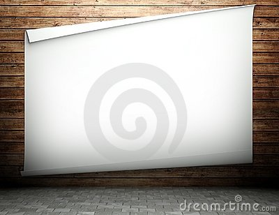 3d wooden wall with empty billboard
