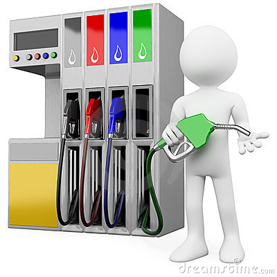 3D worker at a gas station with a petrol pump