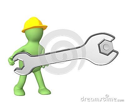 3d worker, twisting a nut