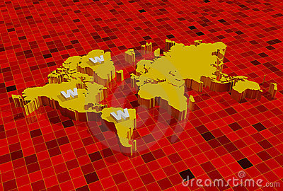 3d world map with www