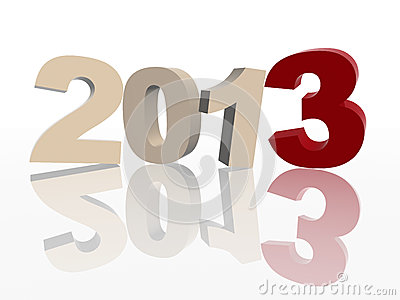 3d year 2013 in red and grey