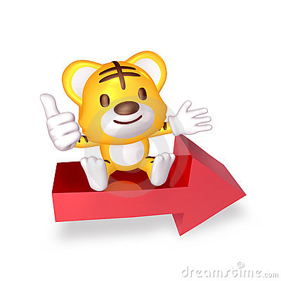 3d yellow cute tiger sitting