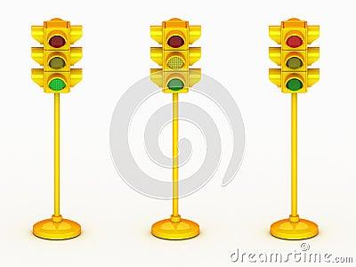 3d yellow traffic light