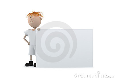 3d Young boy hold a white board isolate