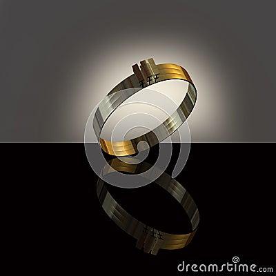3d złocistego pierścionku biel