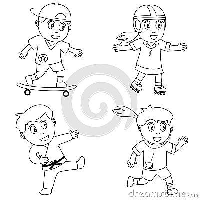 4个上色孩子体育运动