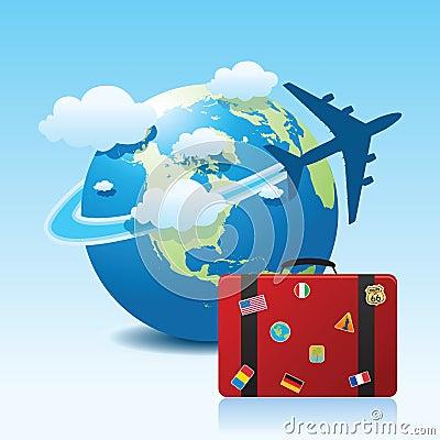 飞机地球例证旅行.图片