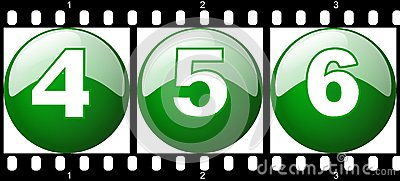 4,5,6 green number film strip, ready to use for de
