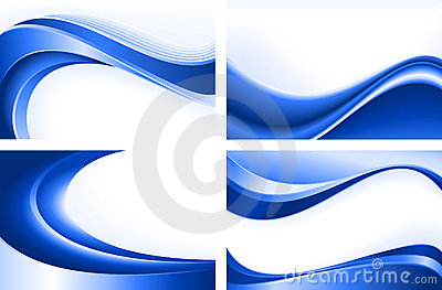 4 abstract blue wave backgrounds