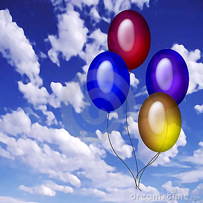 Free 4 Baloons In The Sky Stock Image - 40481