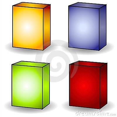 4 Blank Box Covers Clip Art