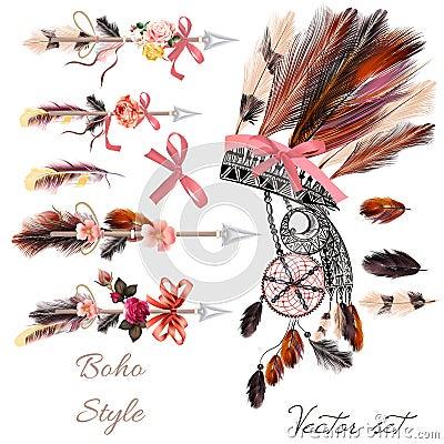 Free 4)Boho Fashion Set From Vector Decorative Elements Head Dress, Royalty Free Stock Photography - 78732707