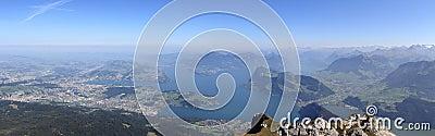 4 cantons lake panorama from Mount Pilatus