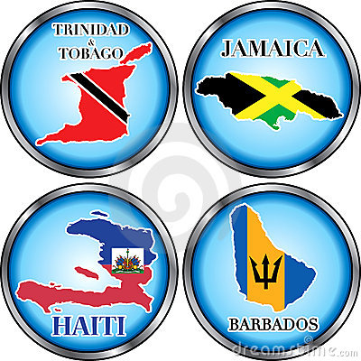 4 Caribbean Round Buttons