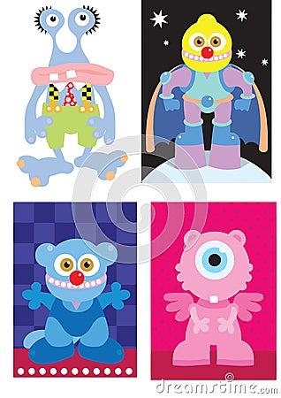 4 cartoon monsters