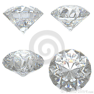 4 Diamonds set on white background
