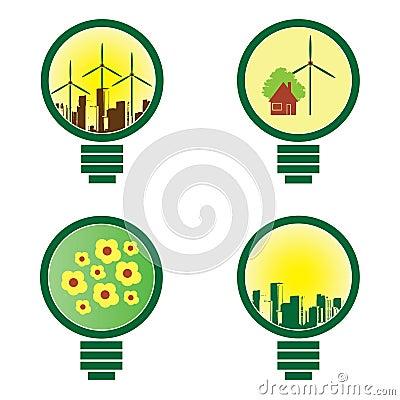 4 Environmental Light Bulbs - illustration