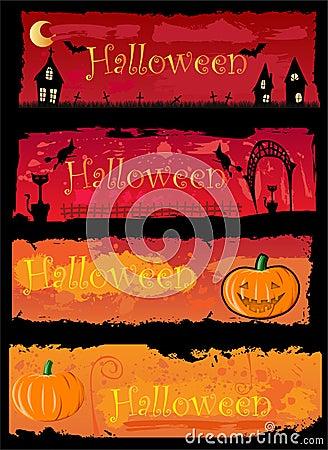 4 Halloween banners