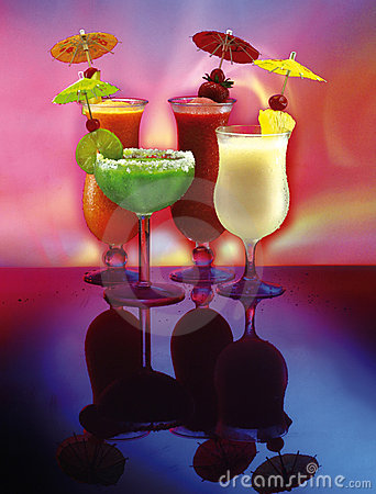4 happy umbrella drinks