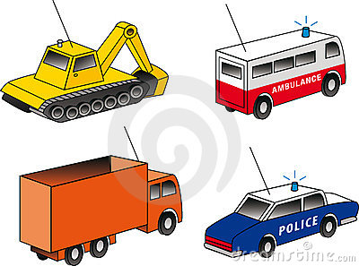 4 isometric emergency & utility vehicles