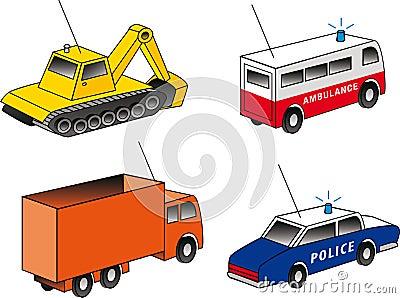 4 isometric emergency & utility vehicles