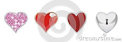 4 jewellery hearts