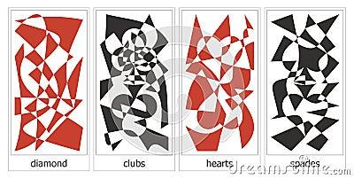 4 kostuums van kaarten