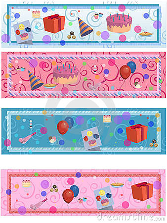 4 matching birthday/party labels