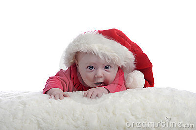 4 months old baby with christmas hat