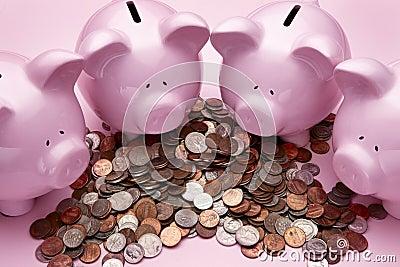 4 Pink piggy banks