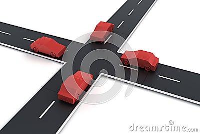 4 samochodów skrzyżowanie