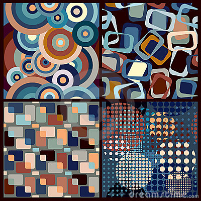4 seamless geometric retro patterns
