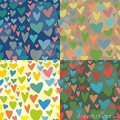 4 Seamless vector texture. with hearts