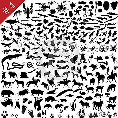 4 set silhouettes för djur