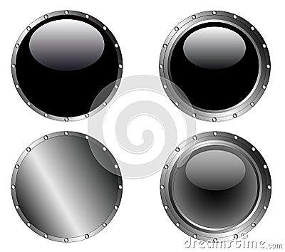 4 Studded Black Web Buttons