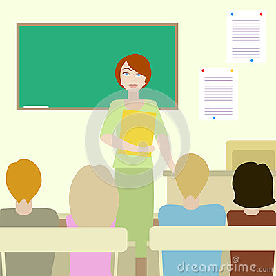 4 students listening to a teacher