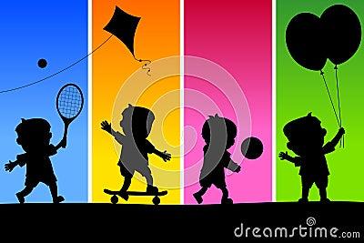 4 ungar som leker silhouettes