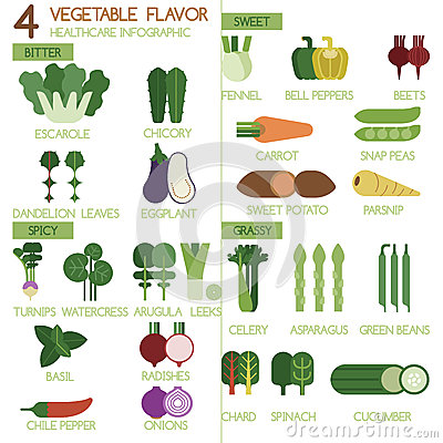 Free 4 Vegetables Flavour Bitter, Sweet, Spicy And Grassy Illustrator Set Stock Photo - 44584890
